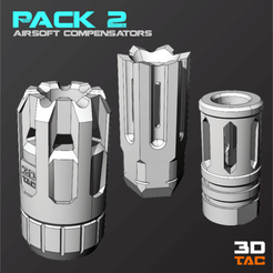 Download STL file 3TAC / Airsoft Compensators / Pack-2 (3 Models Included), 3DMX