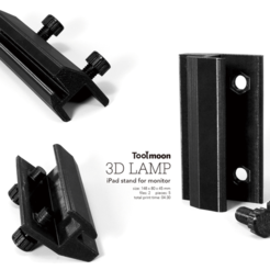 Download free 3D printer designs  iPad stand for monitor, Toolmoon