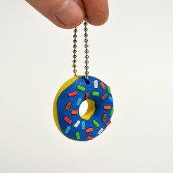 Free 3d print files Donut Keychain, 2be3d