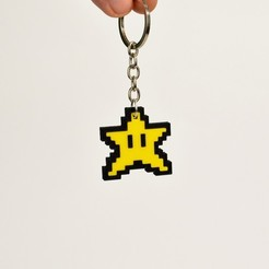 Download free 3D printing designs 8bit Star Mario Keychain, 2be3d