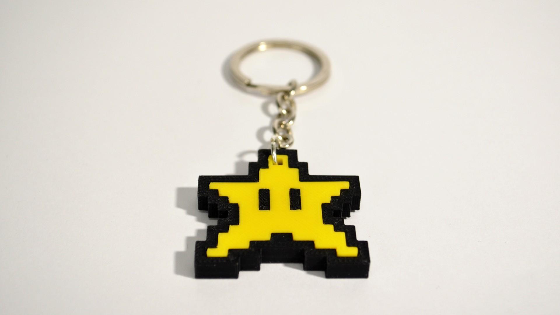 stellina_2.jpg Download free STL file 8bit Star Mario Keychain • 3D printing object, 2be3d