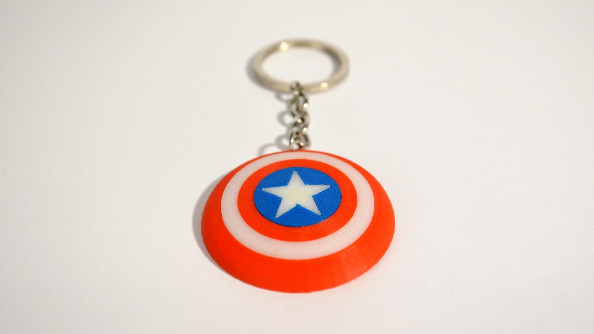 c_america2.jpg Download free STL file Captain America Shield Keychain • 3D printable model, 2be3d