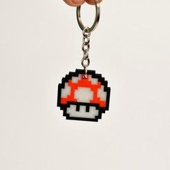 Download free STL files 8bit Mario Mushroom Keychain , 2be3d