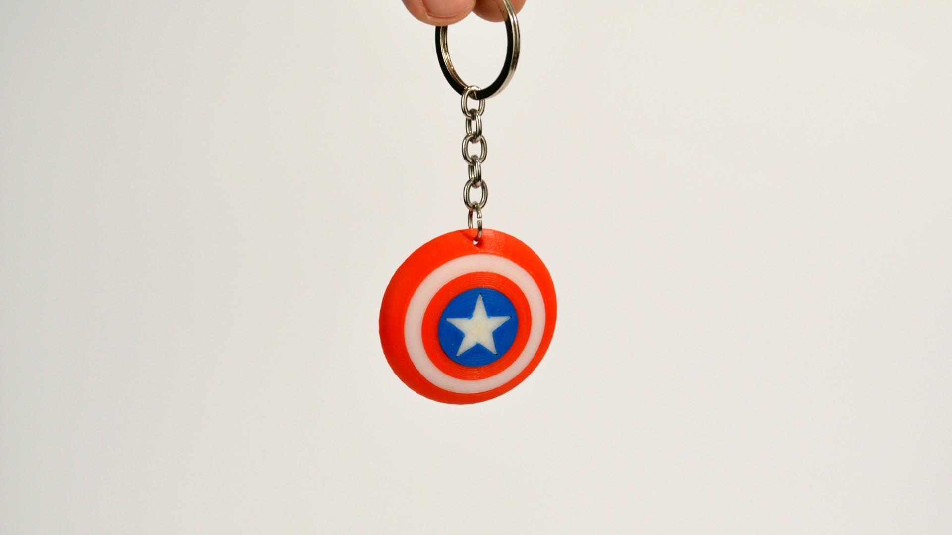 c_america.jpg Download free STL file Captain America Shield Keychain • 3D printable model, 2be3d