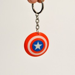 Free 3d printer designs Captain America Shield Keychain, 2be3d
