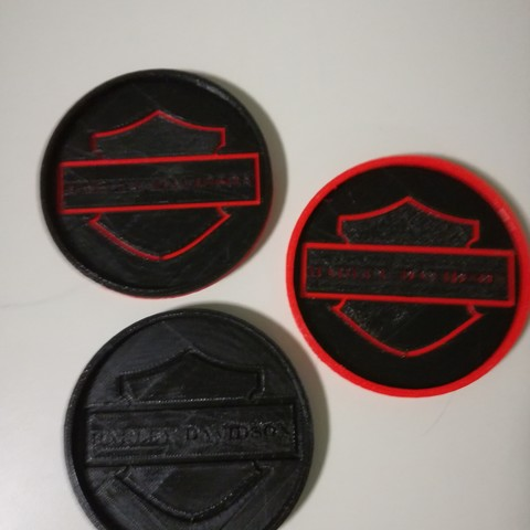 Download free 3D printing designs Harley Davidson Coasters, boyery