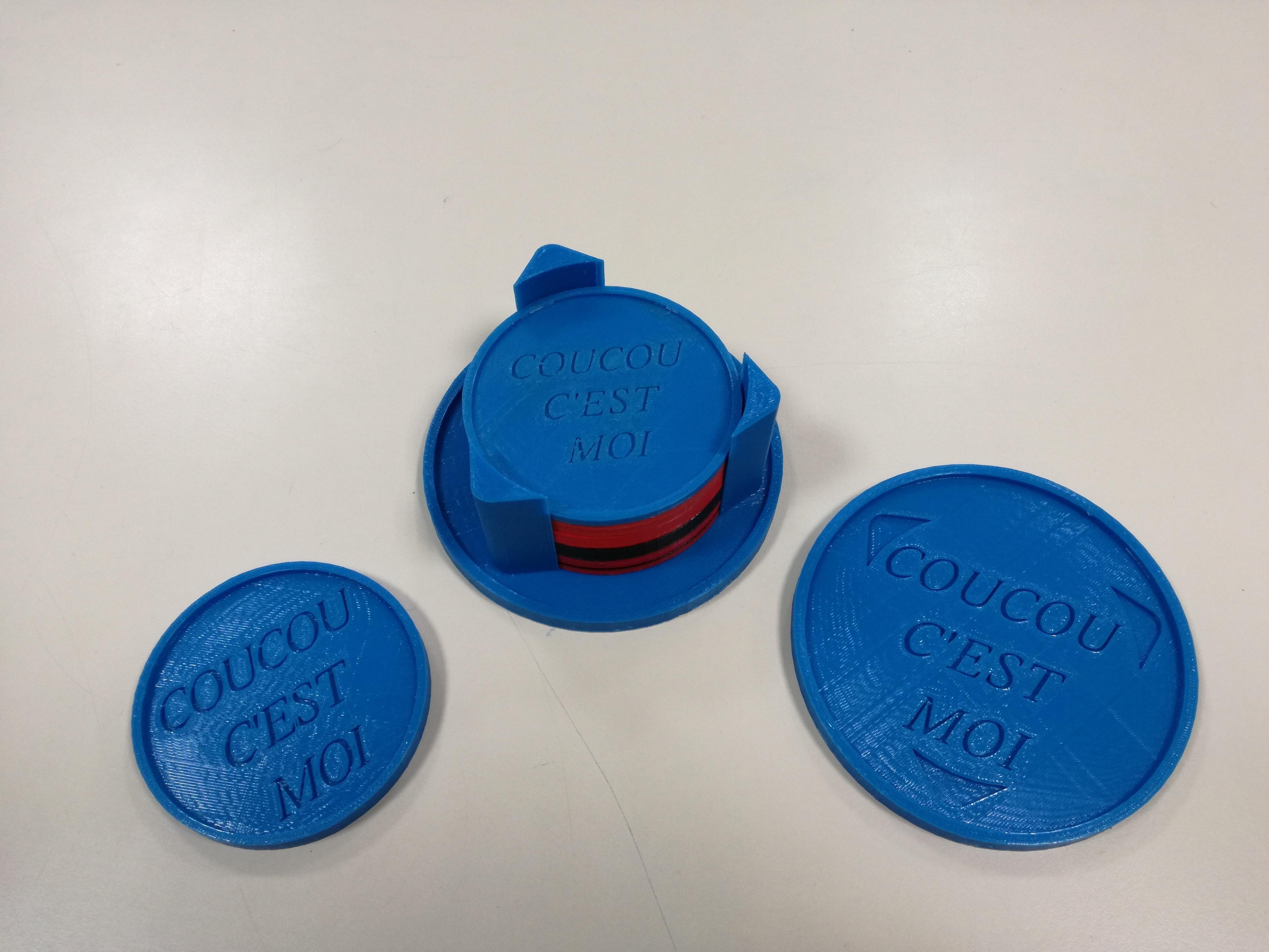 "IMG_20180312_142604.jpg Download free STL file kit plus coasters / flat / photophore ""cuckoo c'est moi"" • 3D printer object, boyery"