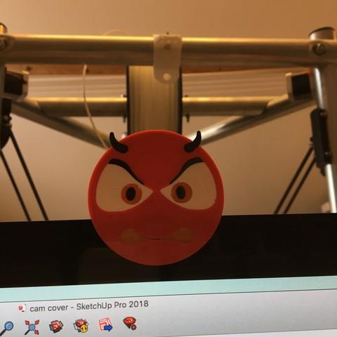 devil 1 by ctrl design.jpg Download STL file devil emoji cam cover • 3D printable design, Byctrldesign