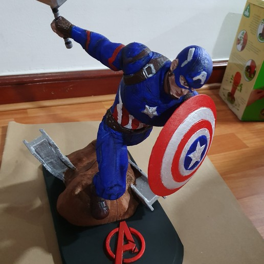 Descargar modelos 3D para imprimir Capitán América con Mjolnir de Avengers Endgame, alejo3801