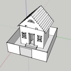 Free 3d print files maison 3d - house 3 rooms with decoration, creafat