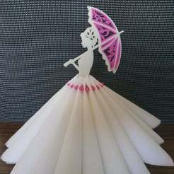 lady_with_umbrella.jpg Download free STL file Lady with the umbrella. 3D quilling napkin holder. • Template to 3D print, TanyaAkinora