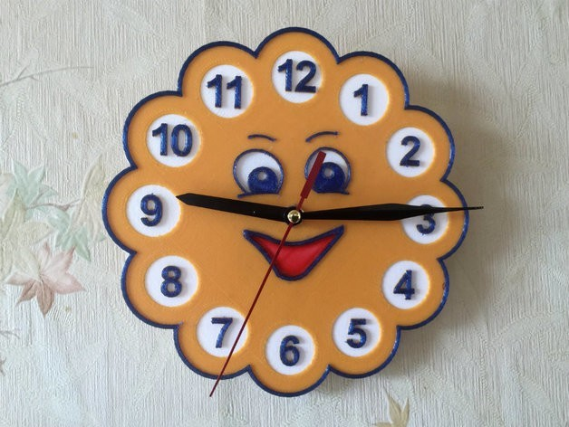 """6a08d30462738759697f53d8388b299b_preview_featured.jpg Download free STL file Wall clock in the children's room """"Sun"""" • 3D print template, TanyaAkinora"""
