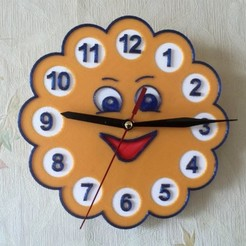 "6a08d30462738759697f53d8388b299b_preview_featured.jpg Download free STL file Wall clock in the children's room ""Sun"" • 3D print template, TanyaAkinora"