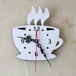 "coffe time.jpg Download free STL file Kitchen clock ""Coffee time"" • 3D printable template, TanyaAkinora"
