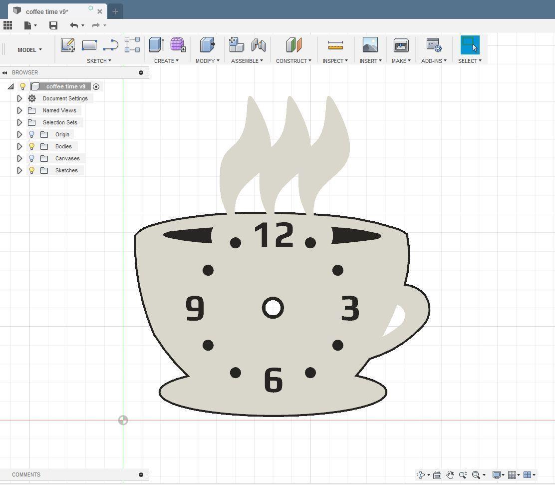 "3D model.JPG Download free STL file Kitchen clock ""Coffee time"" • 3D printable template, TanyaAkinora"