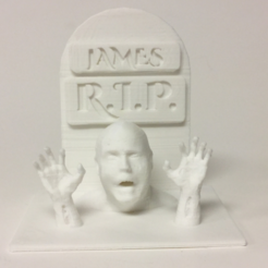 Download free 3D printing models Walking Dead Tombstone With Zombie Hands, 3DLirious