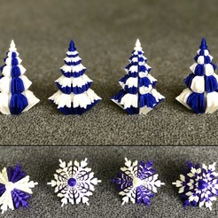 Download free 3D print files 2 colors Christmas trees with snowflake profile, Genapart