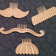 1.jpg Download free STL file Movember Stache Combs • 3D printable template, 3DBROOKLYN