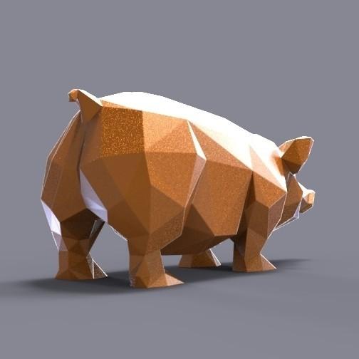 pig lowpoly.jpg Download STL file Pig low poly • 3D printing model, 3dpark