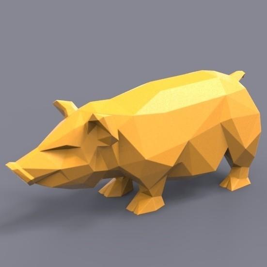 pig stl.jpg Download STL file Pig low poly • 3D printing model, 3dpark