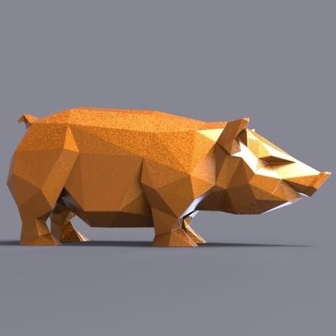 pig 3d.jpg Download STL file Pig low poly • 3D printing model, 3dpark