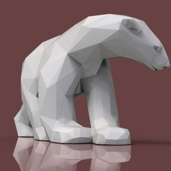 Download STL file Polar bear lowpoly • Template to 3D print, 3dpark