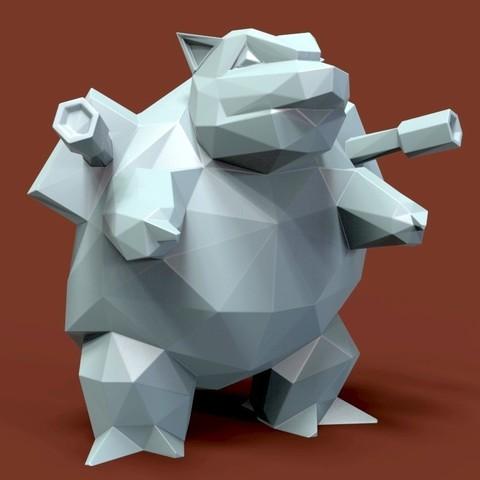 3D print model Pokemon Blastoise low poly, 3dpark