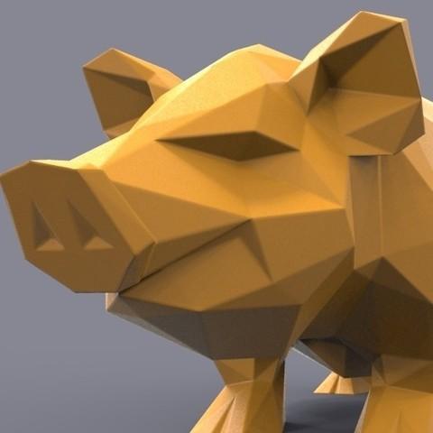 pig3d.jpg Download STL file Pig low poly • 3D printing model, 3dpark