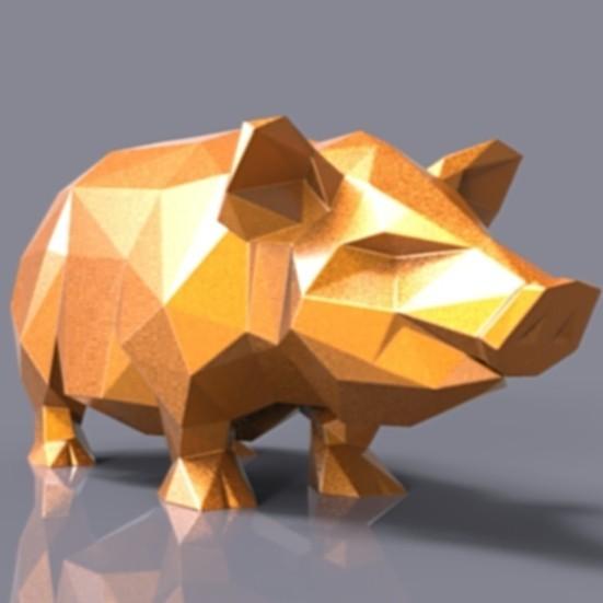 piggy.jpg Download STL file Pig low poly • 3D printing model, 3dpark