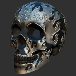 fireskull1.PNG Download STL file Flame Skull • 3D print model, ChaosCoreTech