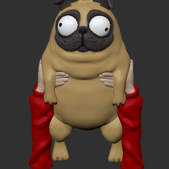 Download free 3D printing files Monchi-Derpy Pug from Connected: STL for 3D Printing, ChaosCoreTech