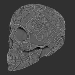 skull2_2.PNG Download STL file Paisley Skull • 3D printing model, ChaosCoreTech