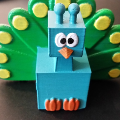 Download free STL file 3D Block Zoo Peacock • 3D printing template, ChaosCoreTech