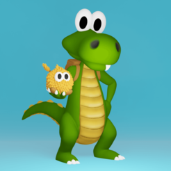croc1.png Download STL file Croc and a Gobbo! • 3D printable template, ChaosCoreTech