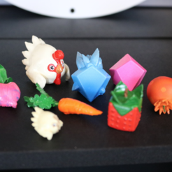 Download free STL file Slime Rancher Hen Hen, Chickadoo, Carrot, Cuberry, Heartbeet, Pogofruit, Plorts • 3D printing model, ChaosCoreTech