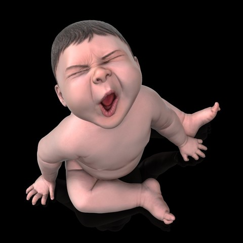 angry_baby_v02_05.jpg Download OBJ file Angry baby improved version • 3D printing design, udograf