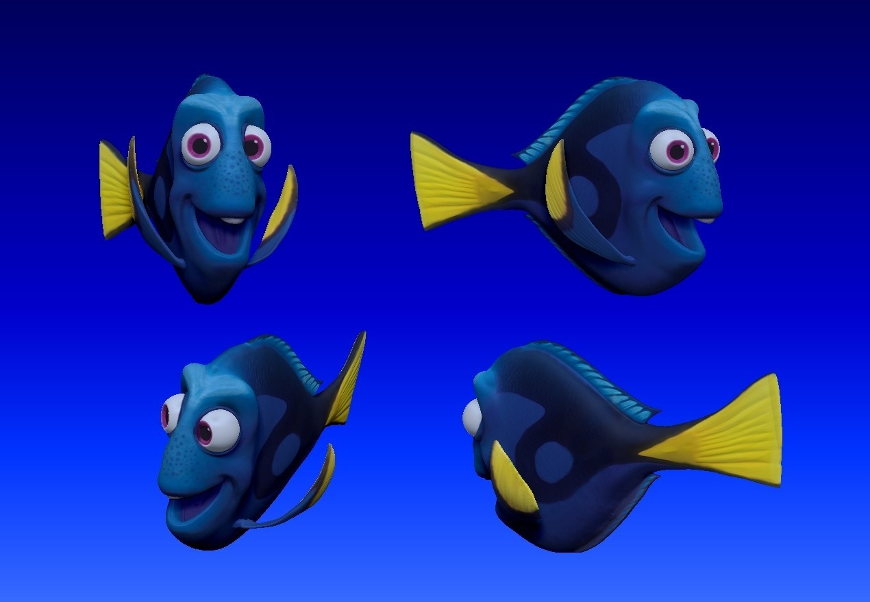 dory_v02.jpg Download STL file Dory 3D Comic Fish • Template to 3D print, udograf