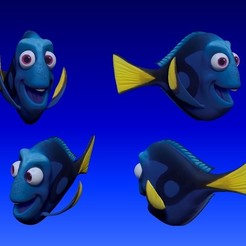 dory_v02.jpg Download STL file Dory 3D Comic Fish • Template to 3D print, udograf