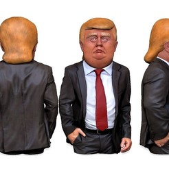 donald_trump_caricature_v01.jpg Download STL file Donald Trump caricature ( Bust ) for 3D print • 3D printable model, udograf