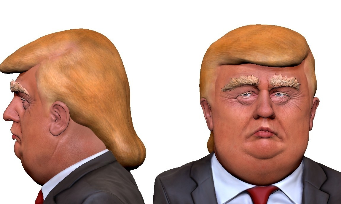 donald_trump_caricature_v03.jpg Download STL file Donald Trump caricature ( Bust ) for 3D print • 3D printable model, udograf