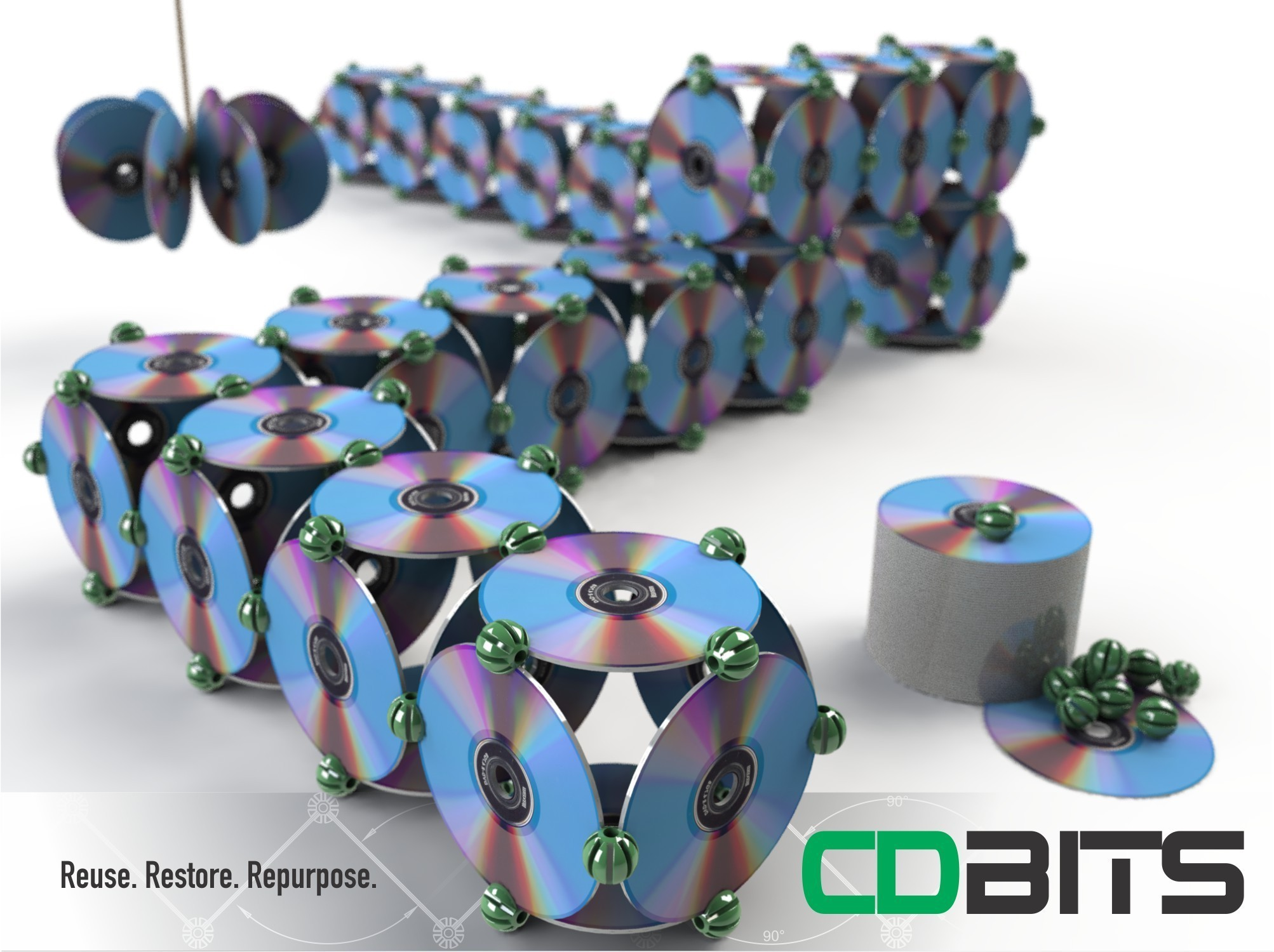 CDBITS_COVER.jpg Download free STL file CDBITS   Expandable, modular CD and DVD connectors. • 3D printing object, Avooq