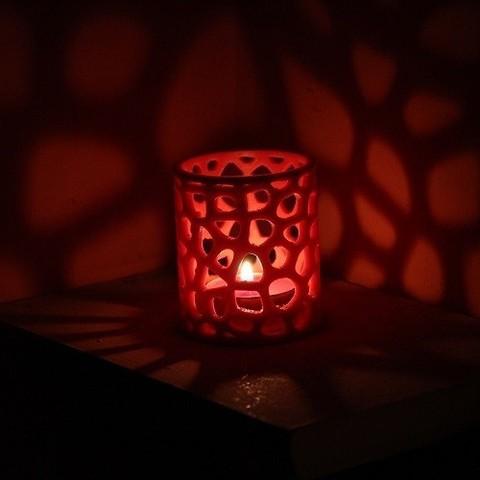 Imprimir en 3D gratis Voronoi candelabro de tealight, Protonik