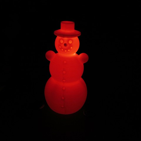 Descargar STL Snowman, Schneemann, 120MM, RGB LED slow-flashing cr2032 coin cell christmas, 3d-print-ka