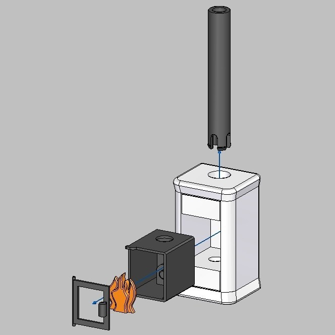Poele Playmobil-Assemblage-Carré.jpg Download STL file Poêle pour maison Playmobil • Object to 3D print, emajo