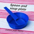 Spoon_soup_plate_title_carre.jpg Download STL file Spoon and soup plate • Object to 3D print, 3d-fabric-jean-pierre