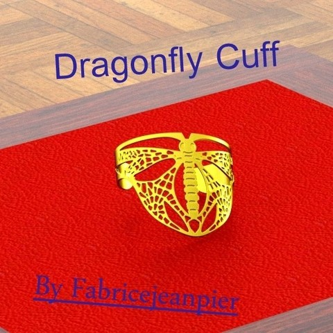 Dragonflybangl_carr_titl_bis.jpg Download STL file Dragonfly Cuff • Template to 3D print, 3d-fabric-jean-pierre