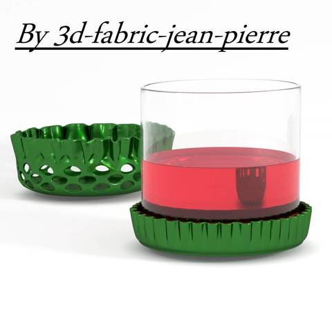 Descargar diseños 3D Posavasos con tapa de cerveza y cuenco individual, 3d-fabric-jean-pierre