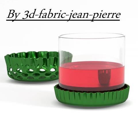 3D printing model Beer cap coaster and individual bowl, 3d-fabric-jean-pierre