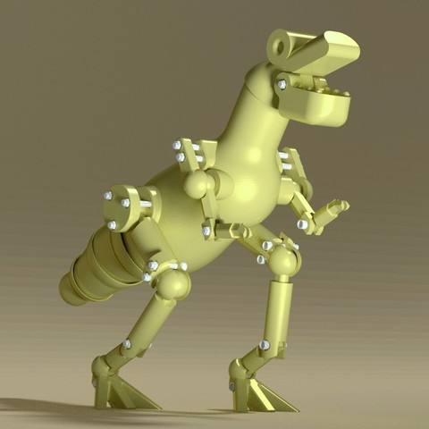 Scene_T_Rex_ret_car.JPG Download STL file T-rex Robot • Template to 3D print, 3d-fabric-jean-pierre