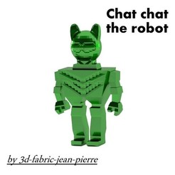 Plan 3D Chat chat the robot, 3d-fabric-jean-pierre